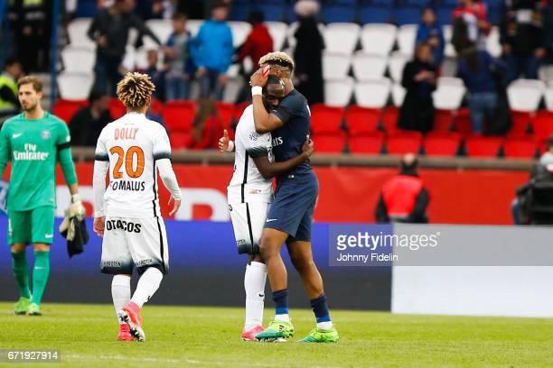 Jordan Ikone of Montpellier and Prensel Kimpembe of Paris Saint Germain during the French Ligue 1 match between Paris Saint Germain and Montpellier...