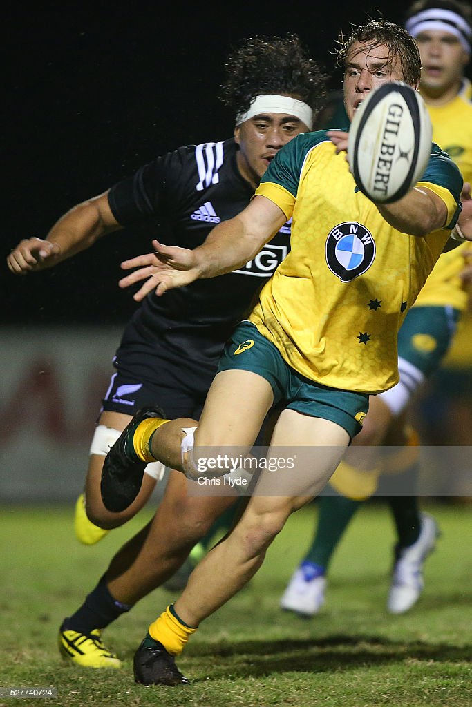 Jordan Jackson-Hope of Australia passes the ball during the Under 20s Oceania Rugby match between Australia and New Zealand at Bond University on May 3, 2016 in Gold Coast, Australia.