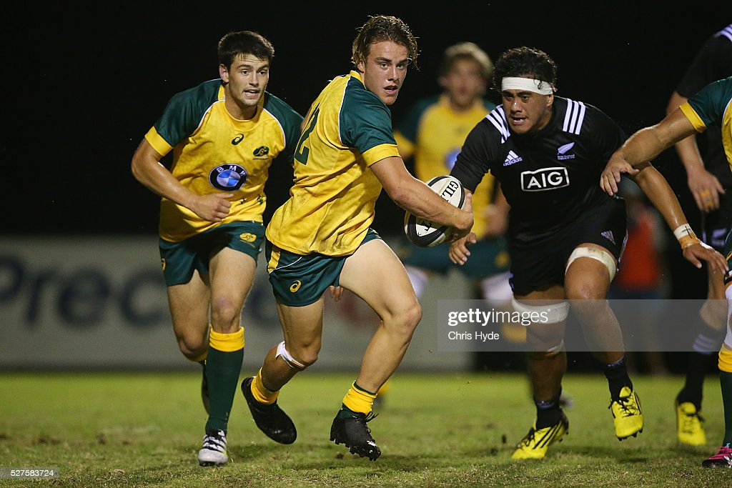 Jordan Jackson-Hope of Australia runs the ball during the Under 20s Oceania Rugby match between Australia and New Zealand at Bond University on May 3, 2016 in Gold Coast, Australia.