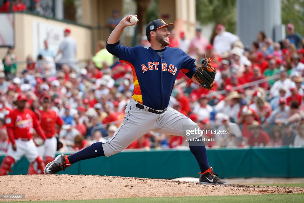 Jordan Jankowski #65 of the Houston Astros throws the ball against the St Louis Cardinals in the sixth inning during a spring training game at Roger Dean Stadium on March 13, 2017 in Jupiter, Florida. The Cardinals defeated the Astros 6-3.