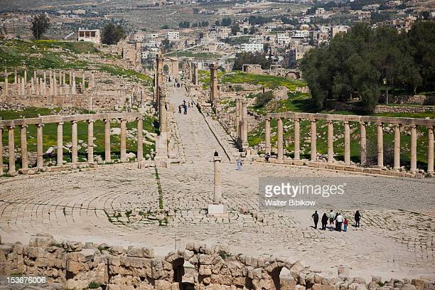 Jordan, Jerash, overview of Roman-era city ruins