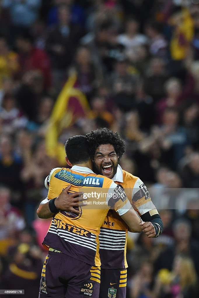 Jordan Kahu of the Broncos celebrates victory with Jordan Kahu during the NRL First Preliminary Final match between the Brisbane Broncos and the Sydney Roosters at Suncorp Stadium on September 25, 2015 in Brisbane, Australia.