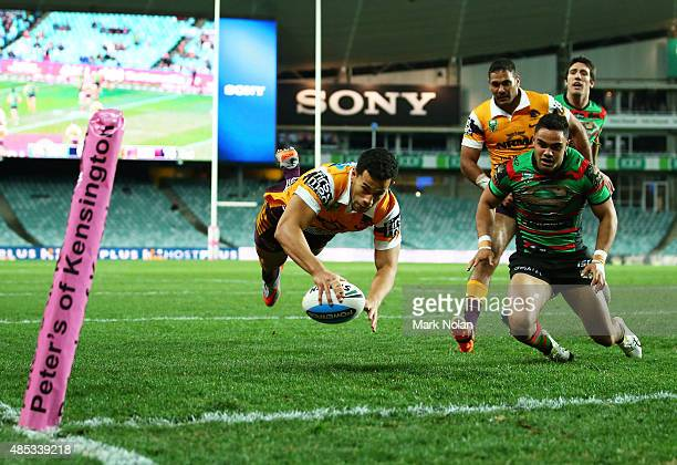 Jordan Kahu of the Broncos dives to score a try during the round 25 NRL match between the South Sydney Rabbitohs and the Brisbane Broncos at Allianz...