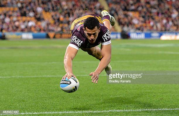 Jordan Kahu of the Broncos scores a try during the round 23 NRL match between the Brisbane Broncos and the St George Illawarra Dragons at Suncorp...