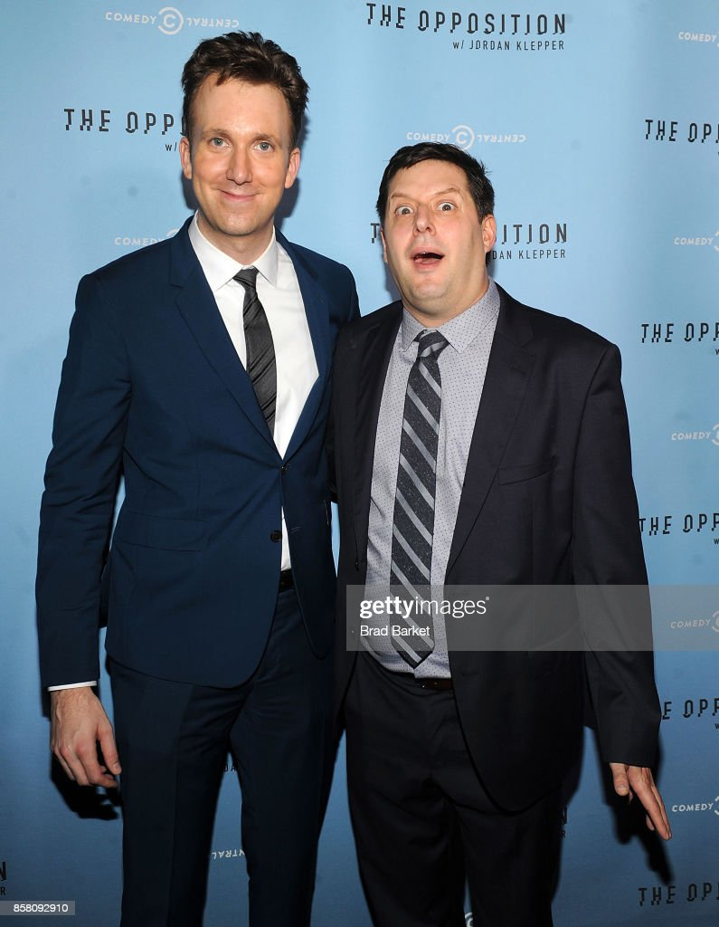 Jordan Klepper and Anthony Atamanuik attend Comedy Central's 'The Opposition W/ Jordan Klepper' Premiere Party at The Skylark on October 5, 2017 in New York City.