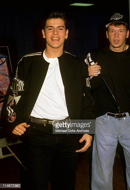 Jordan Knight and Donnie Wahlberg of New Kids On The Block at the 32nd Annual Grammy Awards in Los Angeles California February 22 1990