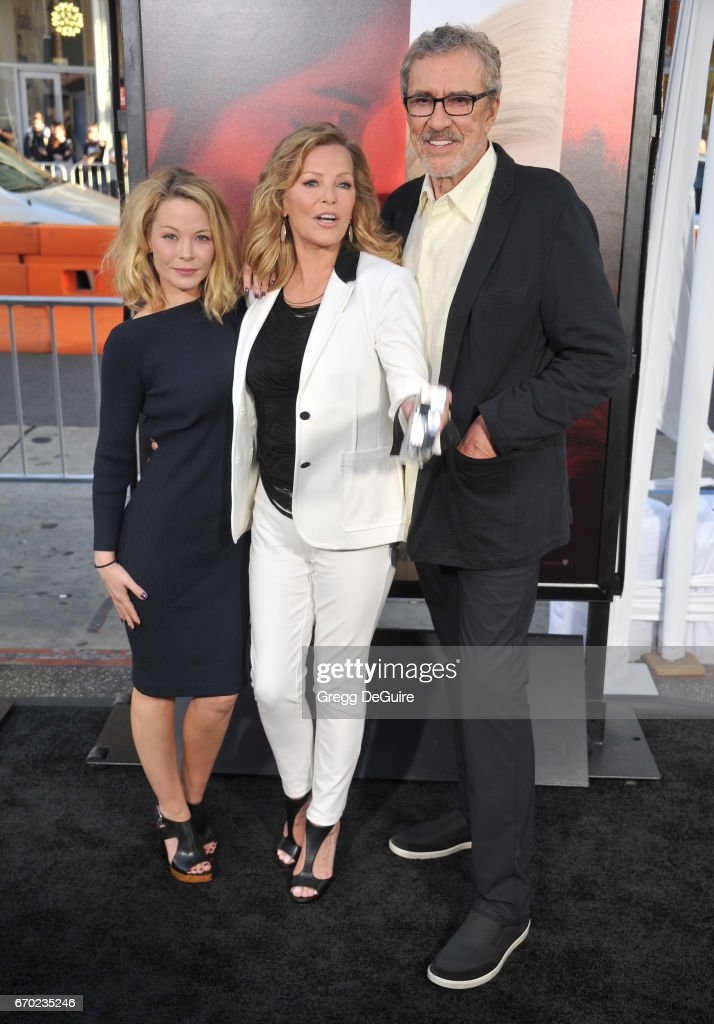 Jordan Ladd, Cheryl Ladd and Brian Russell arrive at the premiere of Warner Bros. Pictures' 'Unforgettable' at TCL Chinese Theatre on April 18, 2017 in Hollywood, California.