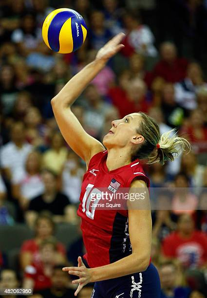 Jordan LarsonBurbach of the USA in action during the final round match against China on day 5 the FIVB Volleyball World Grand Prix on July 26 2015 in...