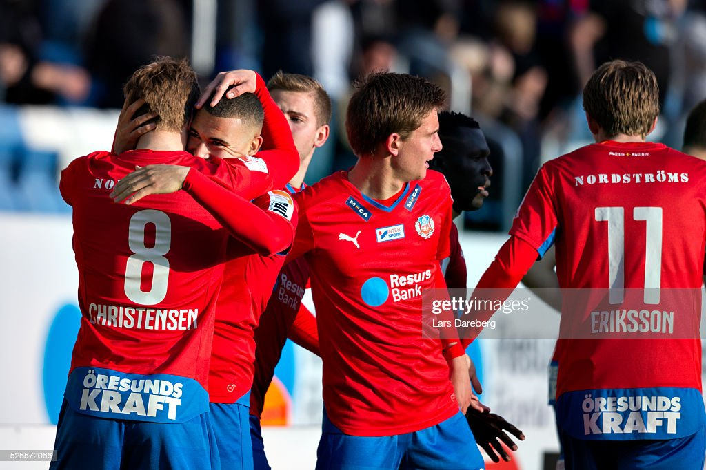 Jordan Larsson of Helsingborgs IF and his teammates celebrates 1-0 during the Allsvenskan match between Helsingborgs IF and AIK at Olympia on April 28, 2016 in Helsingborg, Sweden.