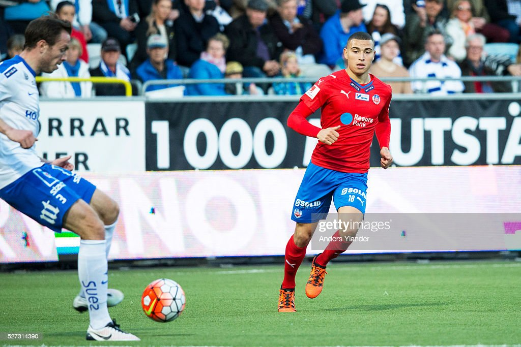 Jordan Larsson of Helsingborgs IF and Jon Gudni Fjoluson of IFK Norrkoping competes for the ball during the Allsvenskan match between IFK Norrkoping and Helsingborgs IF at Ostgotaporten on May 2, 2016 in Norrkoping, Sweden.