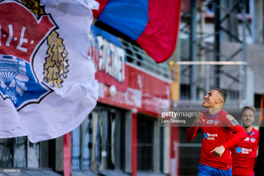Jordan Larsson of Helsingborgs IF celebrates his 2-1 goal during the Allsvenskan match between Helsingborgs IF and AIK at Olympia on April 28, 2016 in Helsingborg, Sweden.