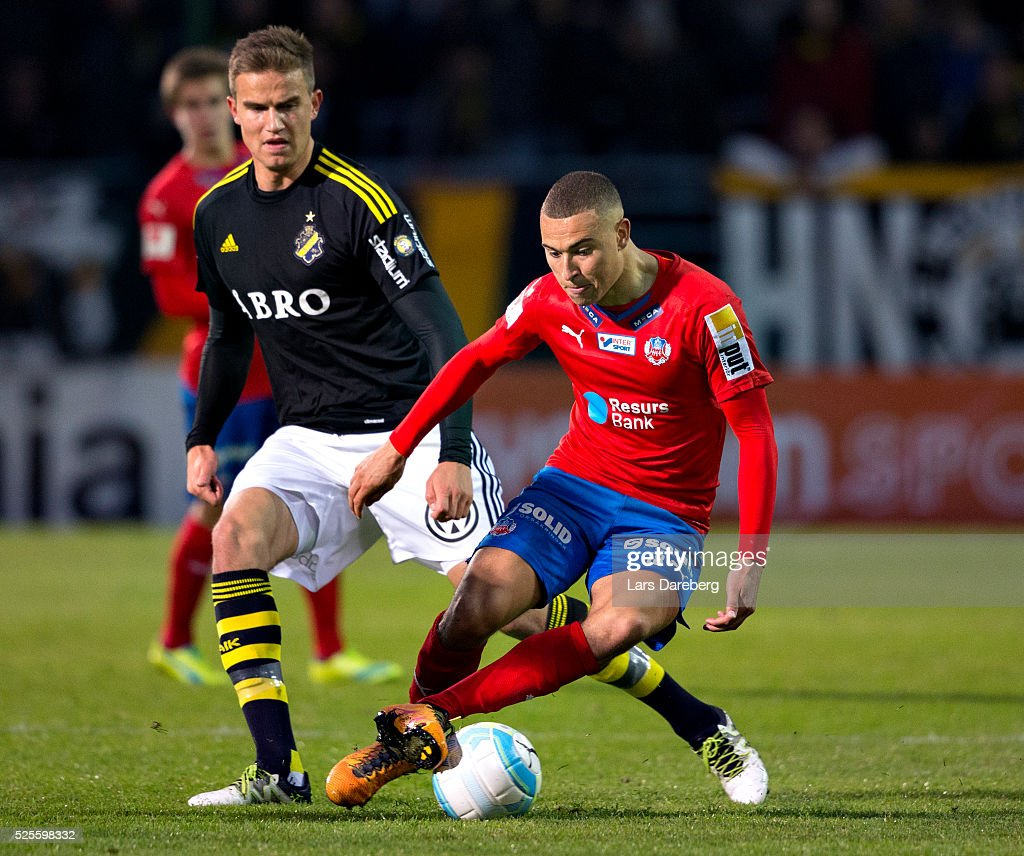 Jordan Larsson of Helsingborgs IF during the Allsvenskan match between Helsingborgs IF and AIK at Olympia on April 28, 2016 in Helsingborg, Sweden.