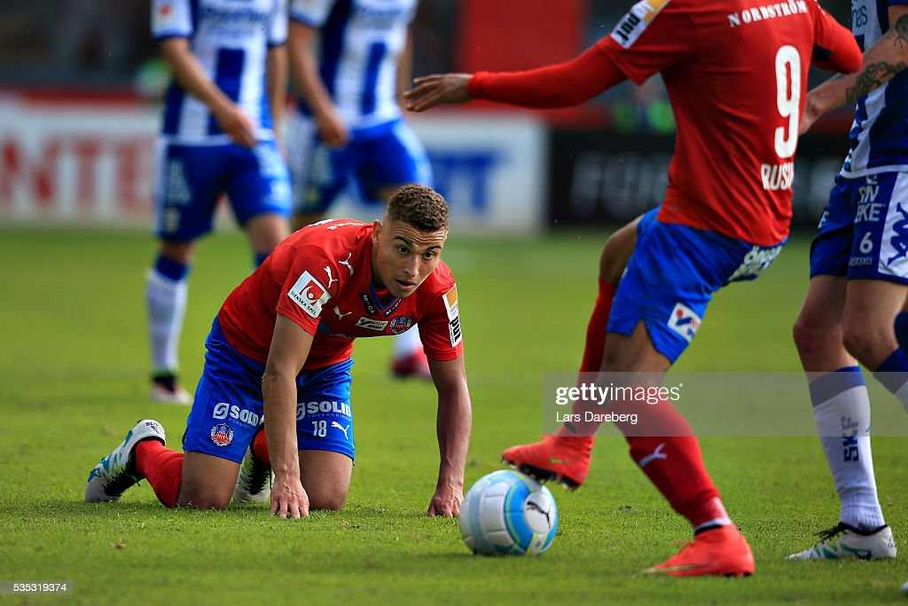 Jordan Larsson of Helsingborgs IF during the Allsvenskan match between Helsingborgs IF and IFK Goteborg at Olympia on May 29, 2016 in Helsingborg, Sweden.