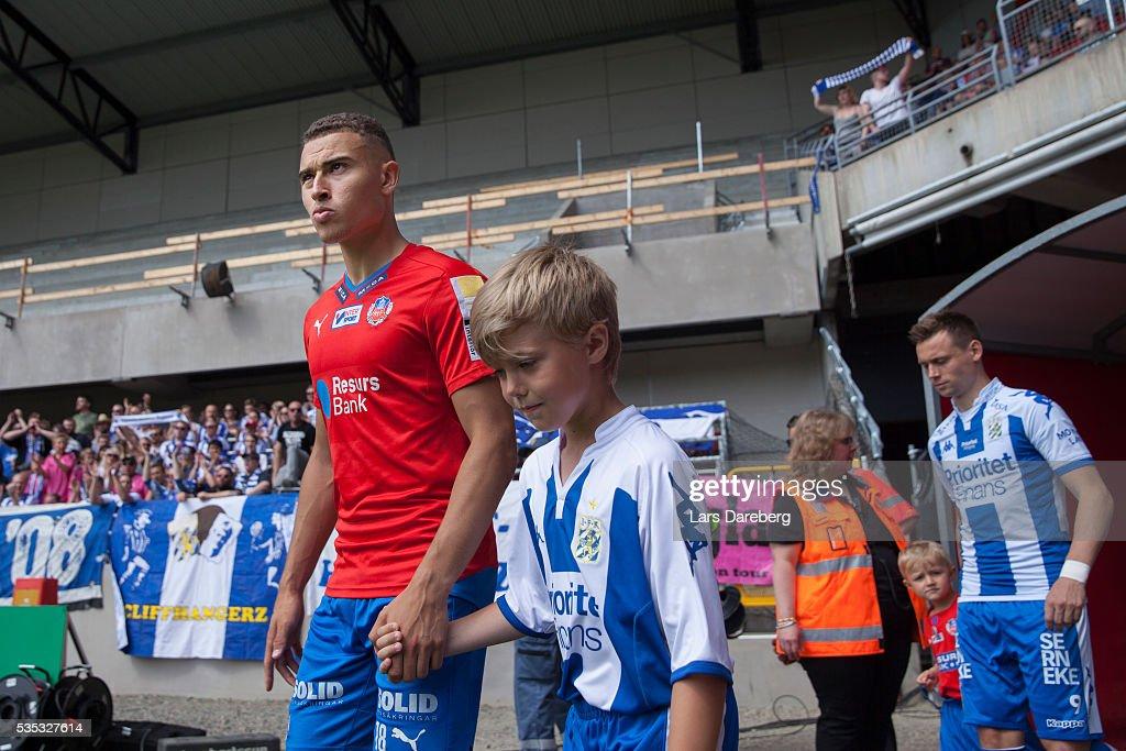 Jordan Larsson of Helsingborgs IF during the Allsvenskan match between Helsingborgs IF and IFK Goteborg at Olympia on May 29, 2016 in Helsingborg, Sweden.