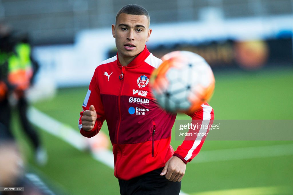 Jordan Larsson of Helsingborgs IF during warm up before the Allsvenskan match between IFK Norrkoping and Helsingborgs IF at Ostgotaporten on May 2, 2016 in Norrkoping, Sweden.