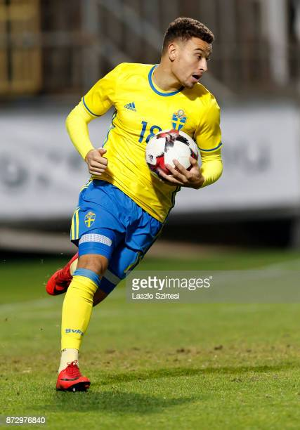 Jordan Larsson of Sweden U21 runs with the ball after his equalizer during the UEFA Under 21 Euro 2019 Qualifier match between Hungary U21 and Sweden...