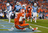 Jordan Leggett of the Clemson Tigers makes touchdown catch against the North Carolina Tar Heels during the Atlantic Coast Conference Football...