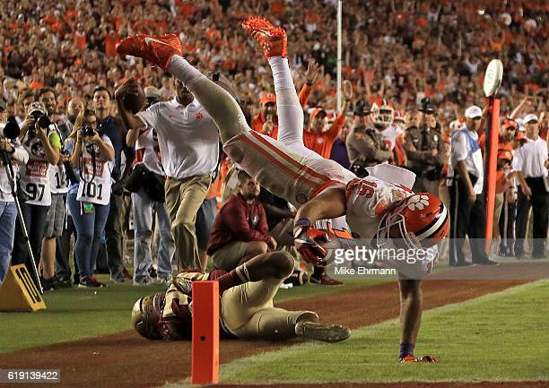 Jordan Leggett of the Clemson Tigers scores a touchdown during a game against the Florida State Seminoles at Doak Campbell Stadium on October 29 2016...