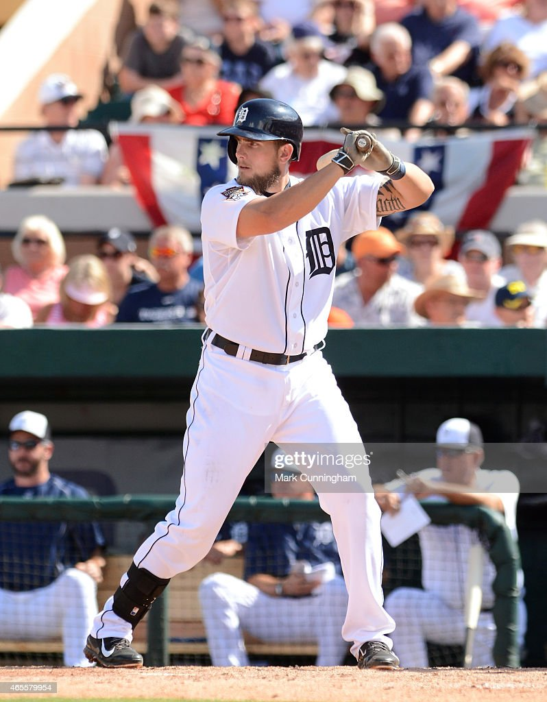 Jordan Lennerton #74 of the Detroit Tigers bats during the Spring Training game against the Baltimore Orioles at Joker Marchant Stadium on March 3, 2015 in Lakeland, Florida. The Tigers defeated the Orioles 15-2.