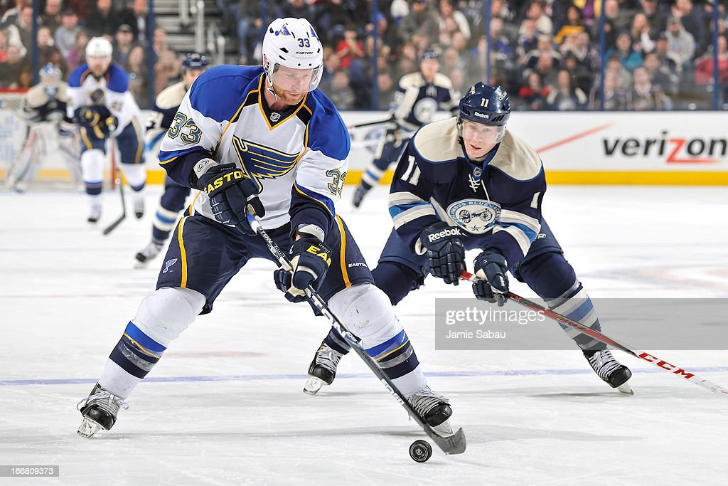 Jordan Leopold #33 of the St. Louis Blues skates with the puck against the Columbus Blue Jackets on April 12, 2013 at Nationwide Arena in Columbus, Ohio.