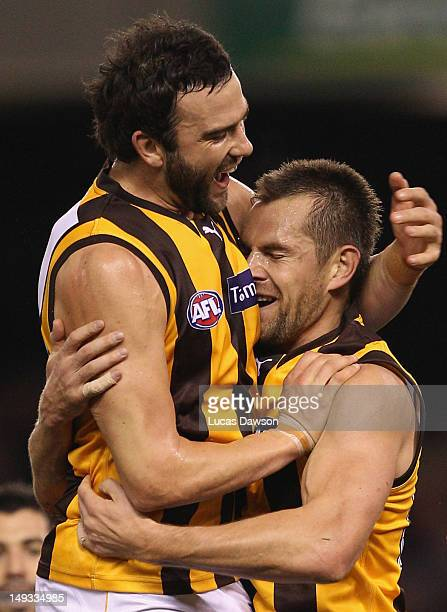 Jordan Lewis and Luke Hodge of the Hawks celebrate a goal during the round 18 AFL match between the Essendon Bombers and the Hawthorn Hawks at Etihad...