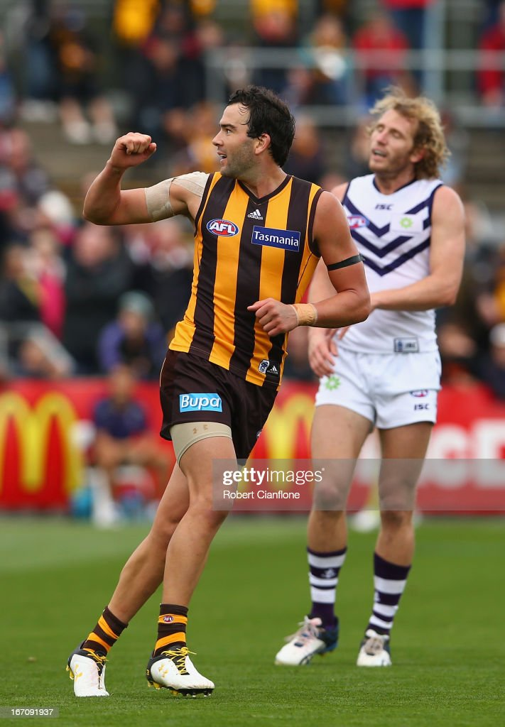 <a gi-track='captionPersonalityLinkClicked' href=/galleries/search?phrase=Jordan+Lewis&family=editorial&specificpeople=236095 ng-click='$event.stopPropagation()'>Jordan Lewis</a> of the Hawks celebrates after kicking a goal during the round four AFL match between the Hawthorn Hawks and the Fremantle Dockers at Aurora Stadium on April 20, 2013 in Launceston, Australia.