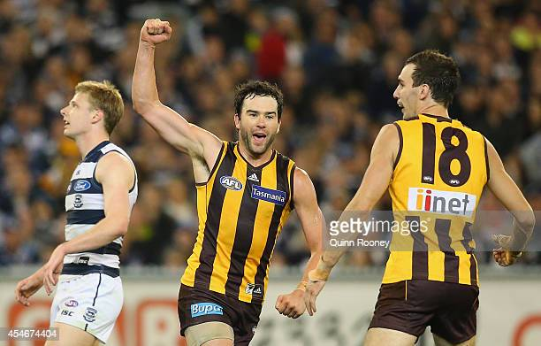 Jordan Lewis of the Hawks celebrates kicking a goal during the AFL 2nd Qualifying Final match between the Hawthorn Hawks and the Geelong Cats at...
