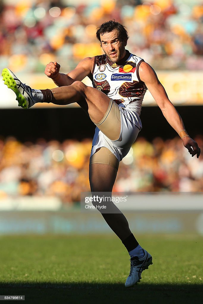 <a gi-track='captionPersonalityLinkClicked' href=/galleries/search?phrase=Jordan+Lewis&family=editorial&specificpeople=236095 ng-click='$event.stopPropagation()'>Jordan Lewis</a> of the Hawks kicks during the round 10 AFL match between the Brisbane Lions and the Hawthorn Hawks at The Gabba on May 28, 2016 in Brisbane, Australia.