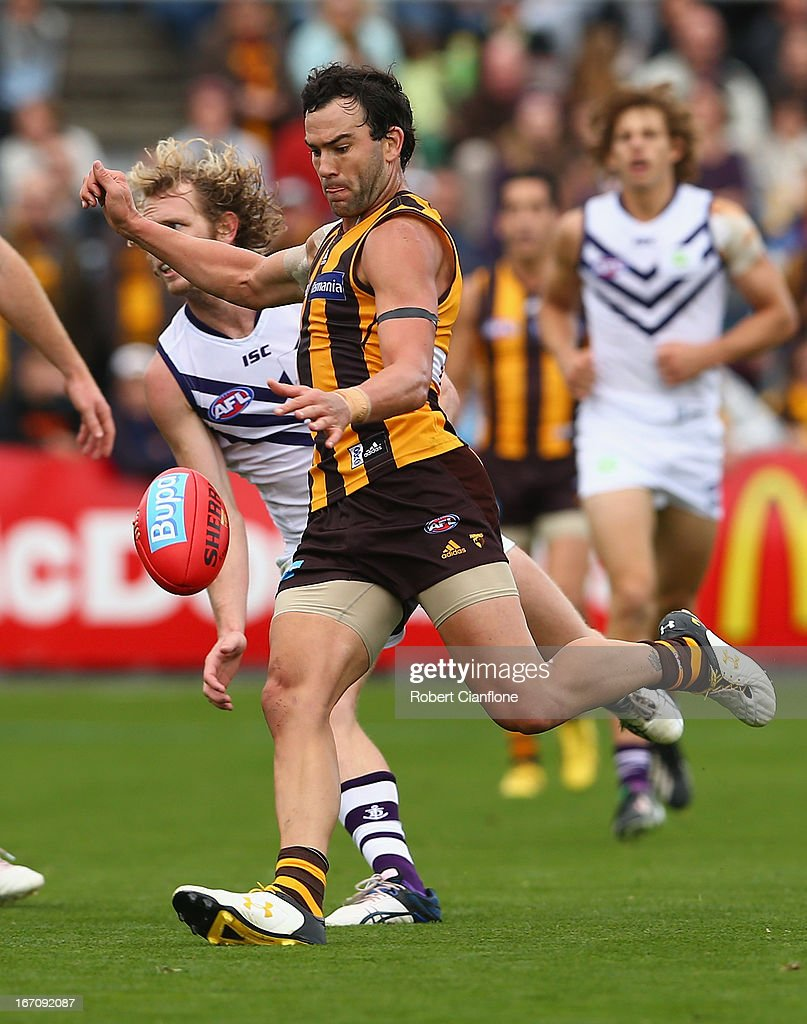 Jordan Lewis of the Hawks kicks on goal during the round four AFL match between the Hawthorn Hawks and the Fremantle Dockers at Aurora Stadium on April 20, 2013 in Launceston, Australia.