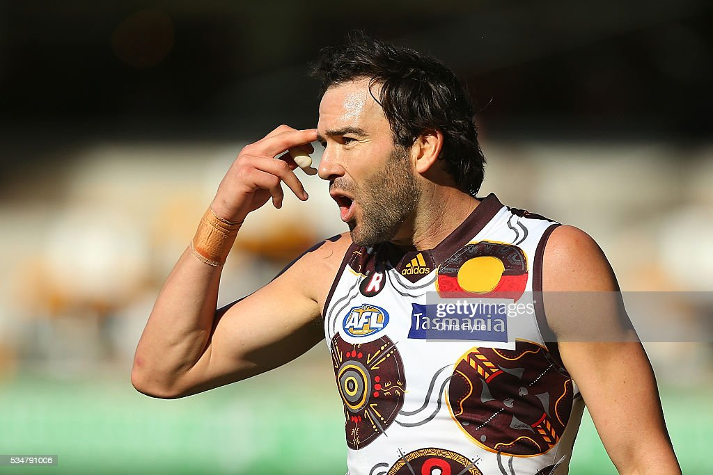 <a gi-track='captionPersonalityLinkClicked' href=/galleries/search?phrase=Jordan+Lewis&family=editorial&specificpeople=236095 ng-click='$event.stopPropagation()'>Jordan Lewis</a> of the Hawks reacts during the round 10 AFL match between the Brisbane Lions and the Hawthorn Hawks at The Gabba on May 28, 2016 in Brisbane, Australia.