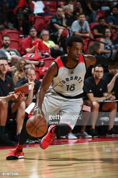 Jordan Loyd of the Toronto Raptors handles the ball against the Cleveland Cavaliers on July 14 2017 at the Thomas Mack Center in Las Vegas Nevada...