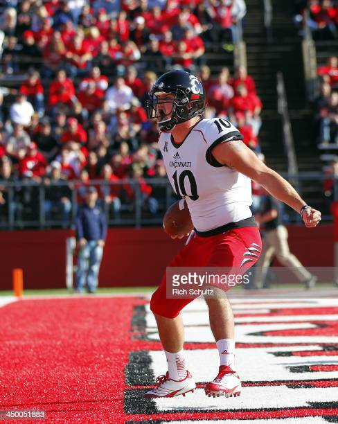 Jordan Luallen of the Cincinnati Bearcats reacts after scoring a touchdown during the first quarter against the Rutgers Scarlet Knights in a game at...