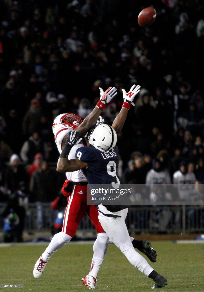 Jordan Lucas #9 of the Penn State Nittany Lions is called for pass interference in the fourth quarter against the Nebraska Cornhuskers during the game on November 23, 2013 at Beaver Stadium in State College, Pennsylvania.