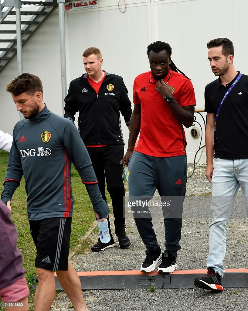 Jordan Lukaku defender of Belgium and Dries Mertens forward of Belgium before a closed training session of the National Soccer Team of Belgium as part of the preparation prior to the UEFA EURO 2016 quarter final match between Wales and Belgium at the Chateau de Haillan training center on June 29, 2016 in Bordeaux, France ,