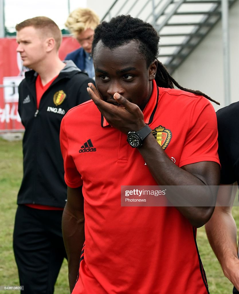 Jordan Lukaku defender of Belgium before a closed training session of the National Soccer Team of Belgium as part of the preparation prior to the UEFA EURO 2016 quarter final match between Wales and Belgium at the Chateau de Haillan training center on June 29, 2016 in Bordeaux, France ,