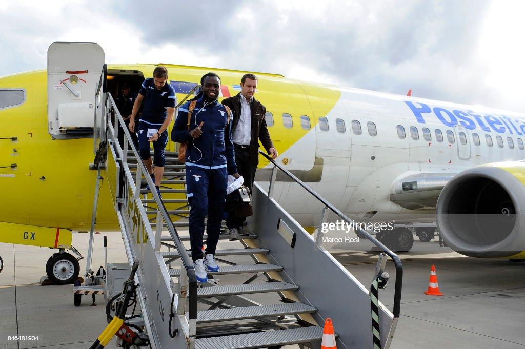 Jordan Lukaku disembarks the plane as SS Lazio travel to Arnhem ahead of their UEFA Europa League match against Vitesse Arnhem on September 13, 2017 in Arnhem, Netherlands.