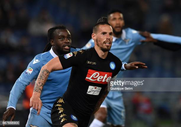 Jordan Lukaku of SS Lazio and Marek Hamsik of SSC Napoli in action during the Serie A match between SS Lazio and SSC Napoli at Stadio Olimpico on...