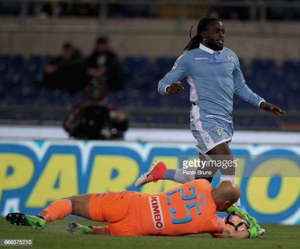 Jordan Lukaku of SS Lazio competes for the ball with Pepe Reina of SSC Napoli during the Serie A match between SS Lazio and SSC Napoli at Stadio...
