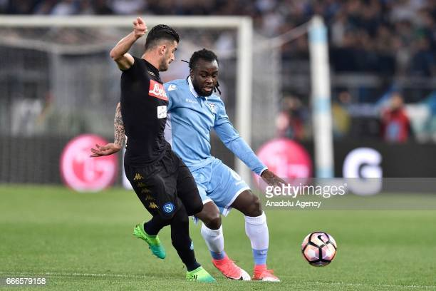 Jordan Lukaku of SS Lazio in action against Elseid Hysaj of SSC Napoli during Italian Serie A soccer match between SS Lazio and SSC Napoli at Stadio...