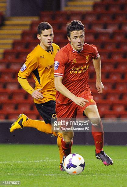 Jordan Lussey of Liverpool and Kristian Kostrna of Wolverhampton Wanderers during the Barclays Premier League Under 21 fixture between Liverpool and...