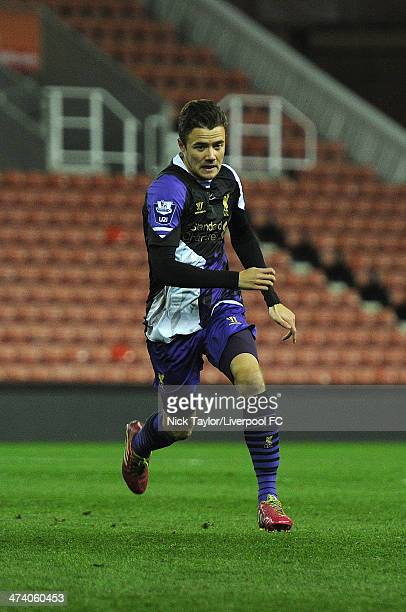 Jordan Lussey of Liverpool in action during the Barclays Premier League Under 21 fixture between Stoke City and Liverpool at Britannia Stadium on...