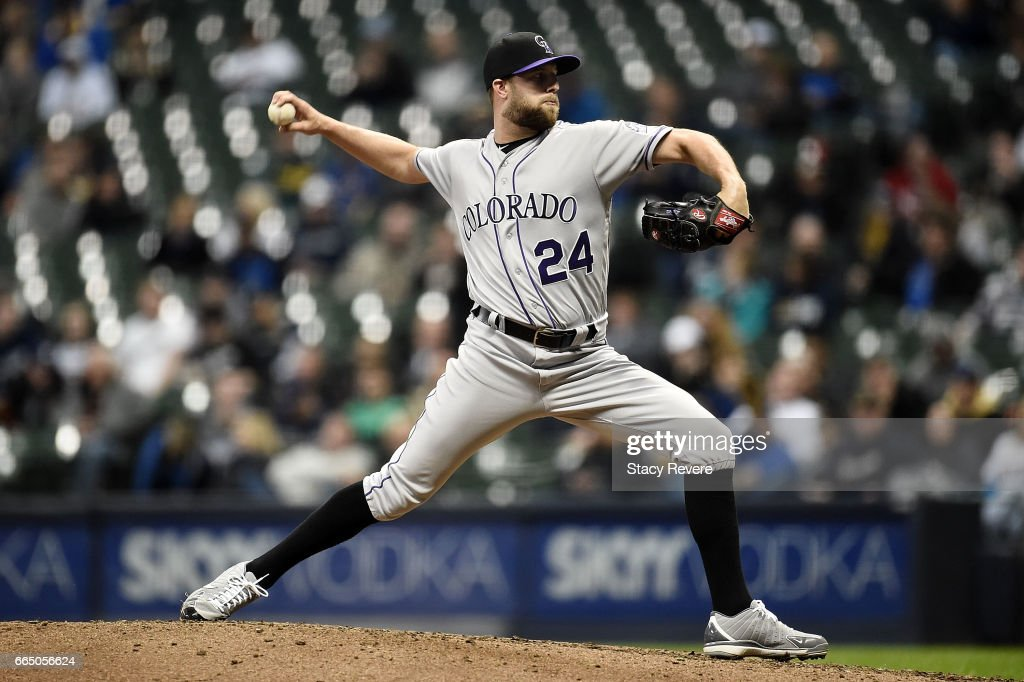Jordan Lyles #24 of the Colorado Rockies throws a pitch during the eighth inning of a game against the Milwaukee Brewers at Miller Park on April 5, 2017 in Milwaukee, Wisconsin.