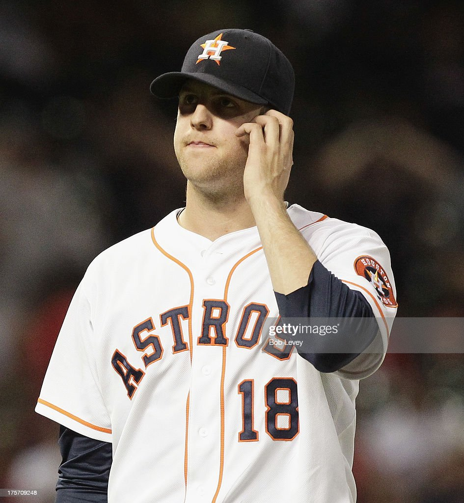 <a gi-track='captionPersonalityLinkClicked' href=/galleries/search?phrase=Jordan+Lyles&family=editorial&specificpeople=7520081 ng-click='$event.stopPropagation()'>Jordan Lyles</a> #18 of the Houston Astros leaves the game in the fifth inning against the Boston Red Sox at Minute Maid Park on August 6, 2013 in Houston, Texas.