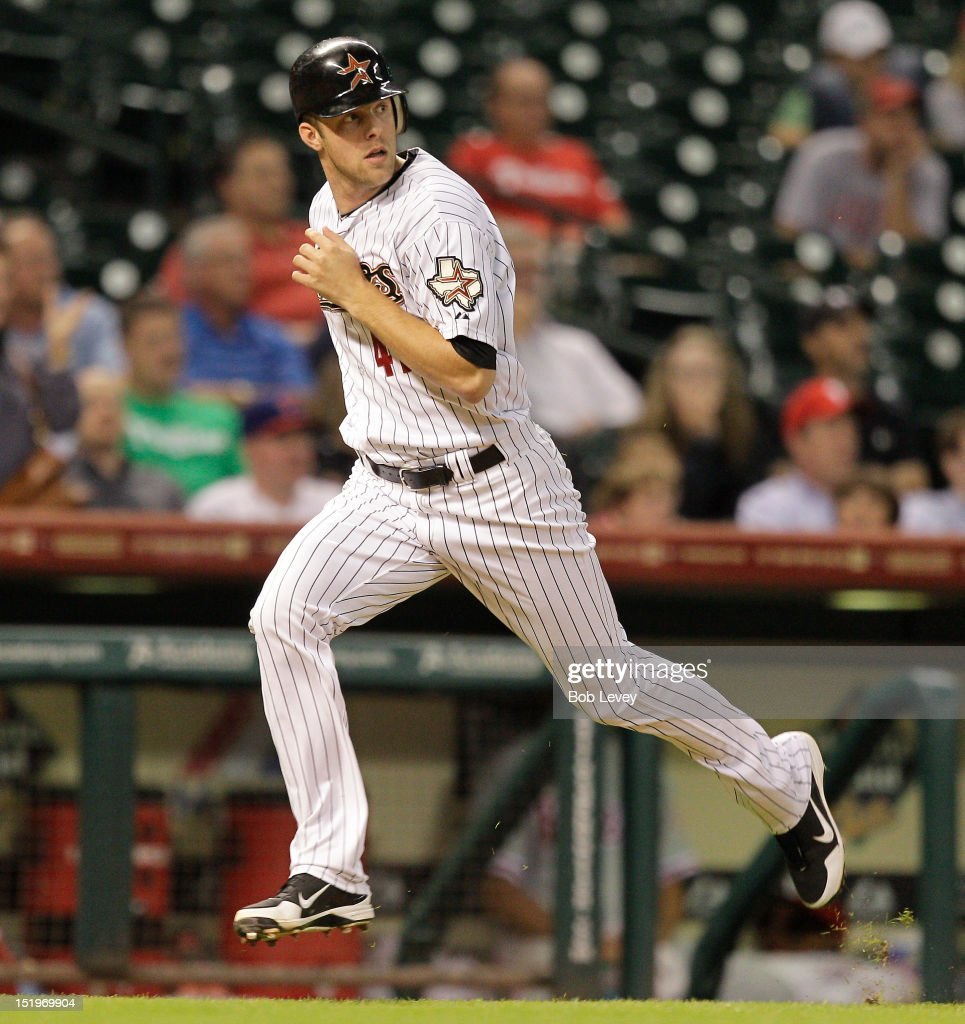 <a gi-track='captionPersonalityLinkClicked' href=/galleries/search?phrase=Jordan+Lyles&family=editorial&specificpeople=7520081 ng-click='$event.stopPropagation()'>Jordan Lyles</a> #41 of the Houston Astros runs enroute to scoring in the eighth inning against the Philadelphia Phillies at Minute Maid Park on September 13, 2012 in Houston, Texas. Houston wins 6-4.