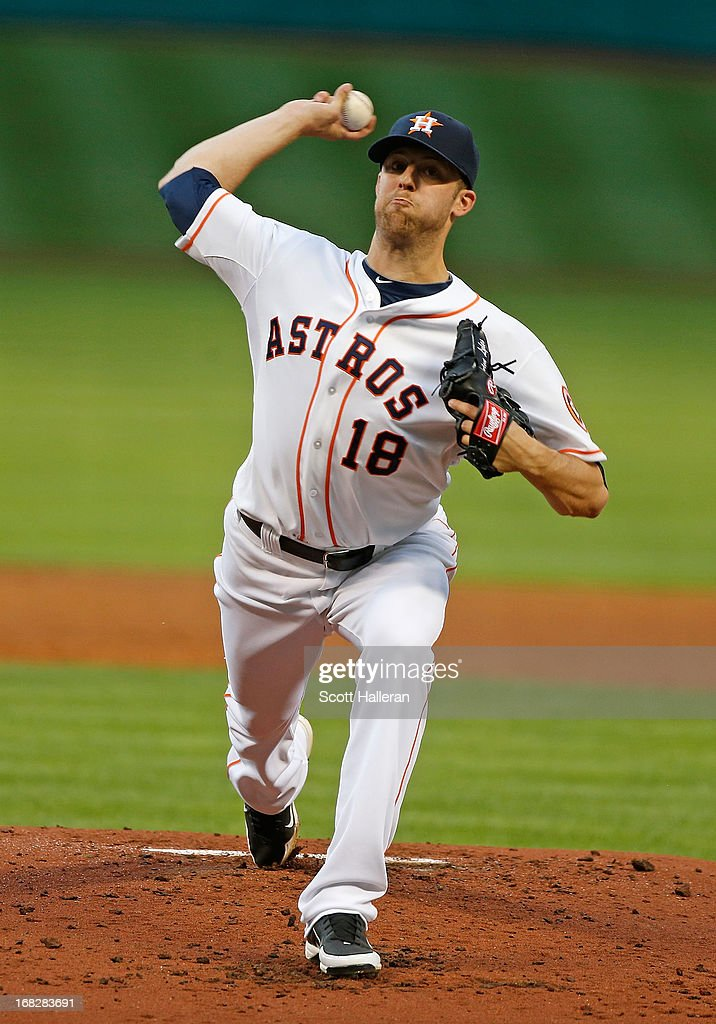 <a gi-track='captionPersonalityLinkClicked' href=/galleries/search?phrase=Jordan+Lyles&family=editorial&specificpeople=7520081 ng-click='$event.stopPropagation()'>Jordan Lyles</a> #18 of the Houston Astros throws a pitch in the second inning against the Los Angeles Angels of Anaheim at Minute Maid Park on May 7, 2013 in Houston, Texas.