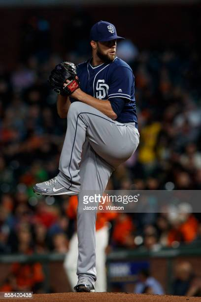 Jordan Lyles of the San Diego Padres pitches against the San Francisco Giants during the first inning at ATT Park on September 29 2017 in San...
