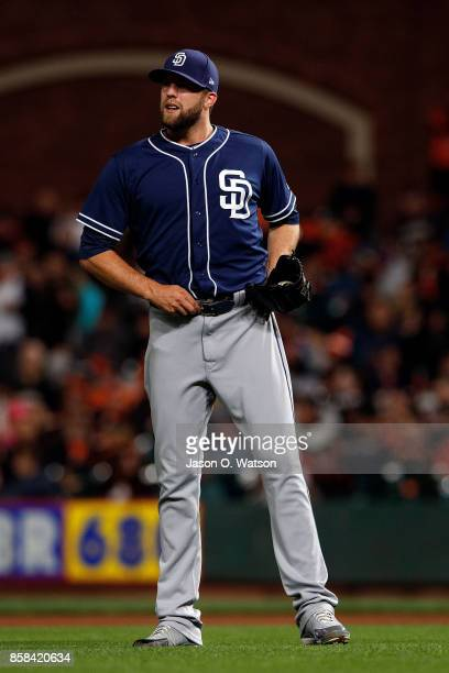 Jordan Lyles of the San Diego Padres reacts after giving up a run against the San Francisco Giants during the first inning at ATT Park on September...