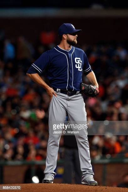 Jordan Lyles of the San Diego Padres stands on the pitchers mound against the San Francisco Giants during the first inning at ATT Park on September...