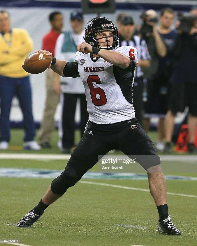 Jordan Lynch #6 of the Northern Illinois Huskies passes against the Kent State Golden Flashes during the Mid-American Conference Championship game at Ford Field on November 30, 2012 in Detroit, Michigan. Illinois won 44-37