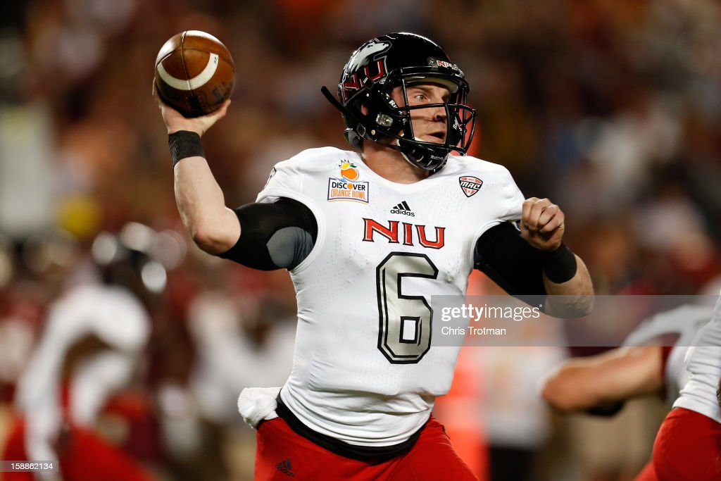 Jordan Lynch #6 of the Northern Illinois Huskies throws a pass in the first half against the Florida State Seminoles during the Discover Orange Bowl at Sun Life Stadium on January 1, 2013 in Miami Gardens, Florida.